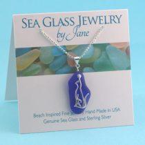 Cobalt Blue Sea Glass Cat Pendant