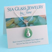 Teal Green Sea Glass Pendant with Pineapple Charm