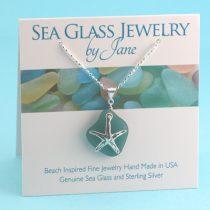 Beautiful Teal Sea Glass Sea Star Pendant