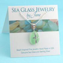 Peridot Green Sea Glass Cross Pendant