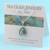 Teal Sea Glass Sailboat Pendant