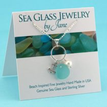 Aqua-Sea-Glass-Necklace-with-Anchor-Charm