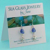 Cornflower-Blue-Sea-Glass-Earrings-with-Sea-Stars