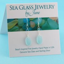 Sky Blue Sea Glass Earrings with Accent