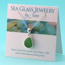 N1077 Sassy Green Sea Glass Pendant