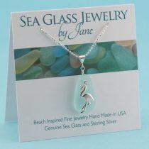 Aqua Sea Glass Pendant with Flamingo Charm