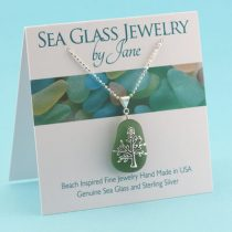 Perfect Olive Green Sea Glass Pendant
