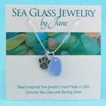 Cornflower Blue Sea Glass Pendant with Dog Paw Charm