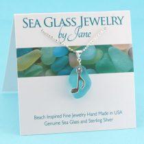 Aqua Sea Glass Chunk with Music Note
