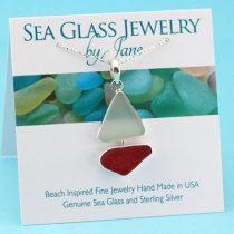Fabulous Red & White Sea Glass Sailboat Pendant