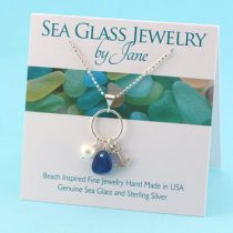 Bright Blue Sea Glass Pendant with Anchor Charm