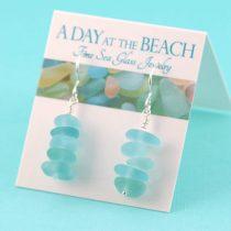 Shades of Aqua Sea Glass Stack Earrings