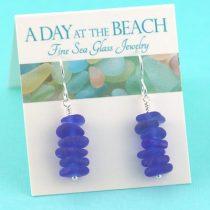 Cobalt Blue Sea Glass Stack Earrings