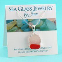 Rare Orange & White Flash Glass Sea Glass Pendant