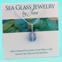 Cornflower Blue Sea Glass Pendant with Dragonfly