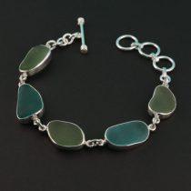 Breathtaking Teal Olive Sea Glass Bracelet