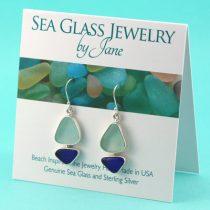 Blue & Aqua Sea Glass Sailboat Earrings