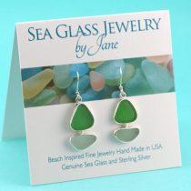 Lime Green & Aqua Sea Glass Sailboat Earrings